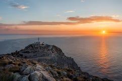 Маяк на Крышке de Formentor на Мальорке на восходе солнца Стоковые Изображения RF