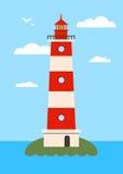 Маяк на острове с светом навигации Стоковые Изображения