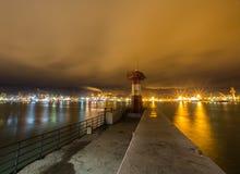 Маяк на портовом районе Стоковые Фото