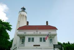 Маяк Нью-Джерси крюка Sandy на красивый солнечный день Стоковые Изображения