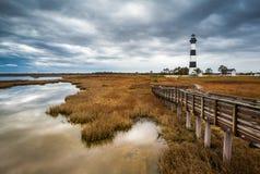 Маяк острова Bodie наружных банков Северной Каролины сценарный Стоковое Изображение RF