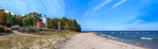 Маяк пункта 40 миль на Lake Huron Стоковая Фотография