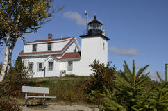 Маяк пункта форта, Новая Англия, Мейн, Соединенные Штаты Стоковые Фотографии RF