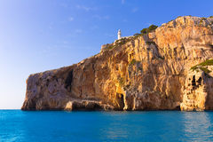 Маяк среднеземноморская Испания Nao Ла Javea Cabo Стоковая Фотография RF