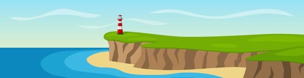 Маяк стоя на скале панорама Стоковая Фотография