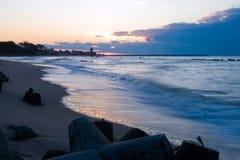 маяк сумрака над заходом солнца Стоковые Фото