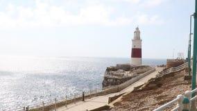 Маяк троицы, пункт Европы, Гибралтар сток-видео