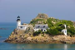 маяк, al Lann Pointe de Ручки, Бретань, Франция стоковое фото