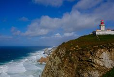 Маяк Cabo da Roca Португалии стоковое изображение rf