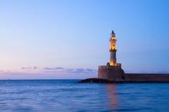 Маяк Chania, Крита, Греции Стоковые Изображения
