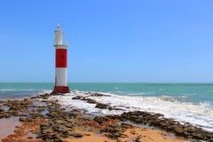 Маяк Galinhos, красивая безмятежность и уникально пейзаж, Galinhos - RN, Бразилия стоковые фото