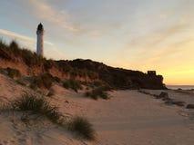 Маяк Lossiemouth пляжа Стоковые Изображения RF