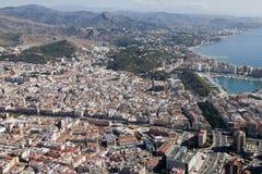 Малага к центру города увиденная от воздуха. Стоковые Изображения