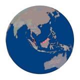 Малайзия на политическом глобусе Стоковые Фото