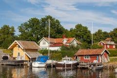 Малая гавань деревни Vaxholm стоковые фотографии rf