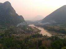 Малая деревня на северном Лаосе Стоковые Изображения RF