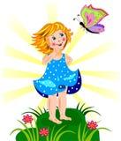 Красивейшие маленькая девочка и бабочка Стоковые Фотографии RF