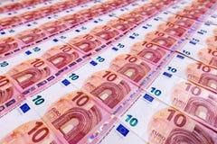 Малая предпосылка 10 банкнот евро Стоковое Изображение