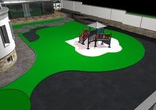 Малая спортивная площадка задворк, иллюстрация 3d Стоковые Фотографии RF