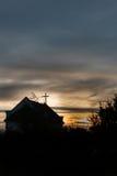 Малая часовня в лучах захода солнца Стоковое Фото