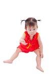 Маленькая азиатская девушка (тайская) в cheongsam традиционного китайския Стоковое Изображение RF