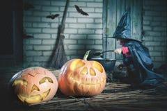 Маленькая ведьма делая волшебное зелье на ноче хеллоуина Тыква Стоковое Изображение RF