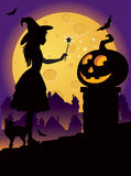 Маленькая ведьма на крыше Стоковые Изображения