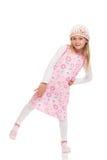 Маленькая девочка балансируя на одной ноге Стоковые Изображения RF