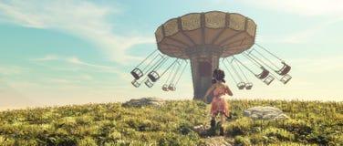 Маленькая девочка бежать в поле Стоковая Фотография