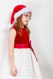 Маленькая девочка выглядеть как эльф santa Стоковое Фото