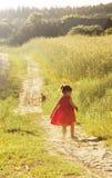 Маленькая девочка в беге в поле лета тонизировано Стоковые Изображения