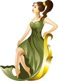 Маленькая девочка в зеленом платье иллюстрация штока