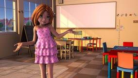 Маленькая девочка в игровой иллюстрация вектора
