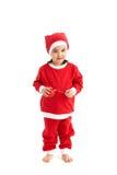 Маленькая девочка в костюме santa с шариком Стоковая Фотография