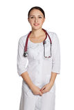 Маленькая девочка в пальто медицинской лаборатории Стоковое Изображение RF