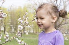 Маленькая девочка в саде весны Стоковые Изображения