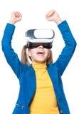 Маленькая девочка в стеклах VR Стоковая Фотография RF