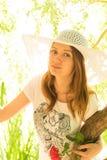 Маленькая девочка в шлеме Стоковая Фотография RF