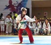 Маленькая девочка в competiton Тхэквондо Стоковая Фотография RF