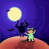 Маленькая девочка в costume halloween иллюстрация штока