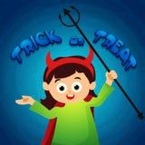 Маленькая девочка в costume halloween бесплатная иллюстрация