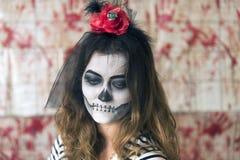 Маленькая девочка готовая для того чтобы отпраздновать хеллоуин Стоковые Изображения RF