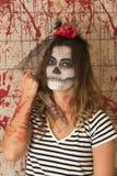 Маленькая девочка готовая для того чтобы отпраздновать хеллоуин Стоковое Изображение