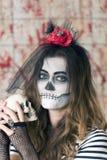 Маленькая девочка готовая для того чтобы отпраздновать хеллоуин Стоковое фото RF