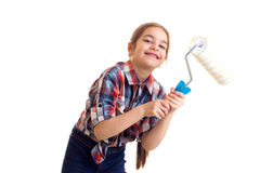 Маленькая девочка держа белый крен Стоковое фото RF