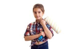 Маленькая девочка держа белый крен Стоковые Фото