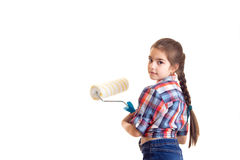 Маленькая девочка держа белый крен Стоковое Изображение