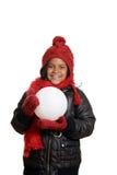 Маленькая девочка держа большой снежный ком Стоковое фото RF