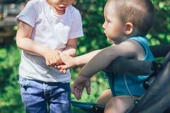 Маленькая девочка держит руку мальчика он сидеть в stoller Стоковая Фотография