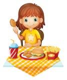 Маленькая девочка есть на ресторане фаст-фуда иллюстрация вектора